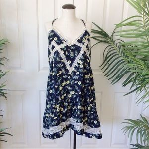 Umgee Small Blue Lace Floral Prairie Sun Dress